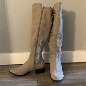 Shoes - Taupe knee high lace up boot